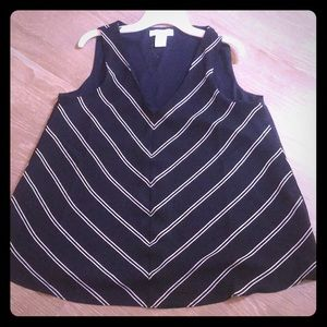 Tops - Navy striped blouse. Business casual 💕